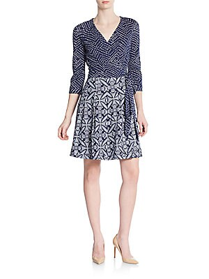 Jewel Printed Cotton Wrap Dress