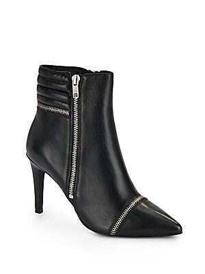 Cara Zip Leather Booties