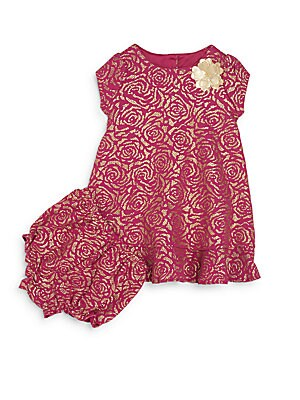 Baby's Metallic Rose Dress & Bloomers