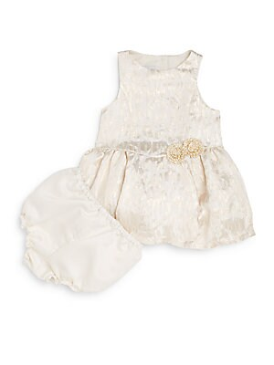 Baby's Two-Piece Brocade Dress & Bloomers Set