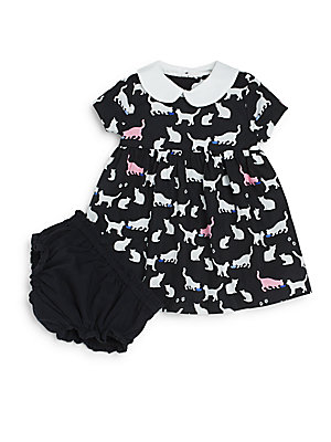 Baby's Kimberly Cat Print Knit Dress with Bloomers