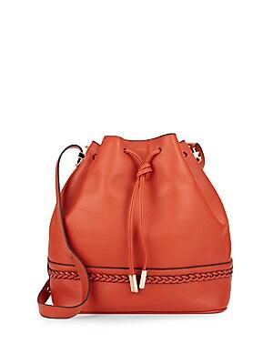 Braid-Trim Leather Bucket Bag