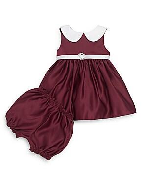 Baby's Satin Peter Pan Collar Dress & Bloomers