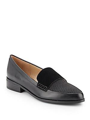 Lorenna Mixed Media Point Toe Loafers