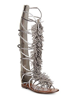 Gia Fringed Metallic Leather Tall Gladiator Sandals