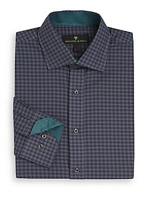 Regular-Fit Gingham Check Cotton Dress Shirt