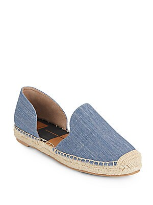 Denim Jute-Trimmed Flats