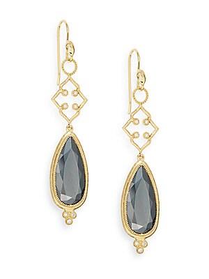 Hematite, Diamond & 18K Yellow Gold Drop Earrings