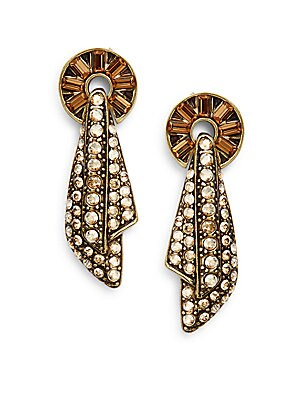 Lined In Luxury Swarovski Crystal Drop Earrings/Goldtone