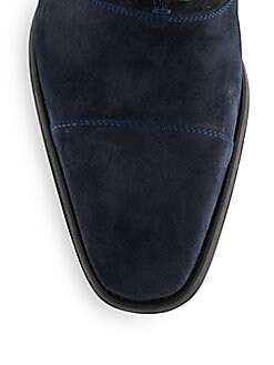 Suede Cap-Toe Oxfords