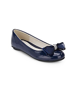 Girl's Faux Patent Leather Bow Flats