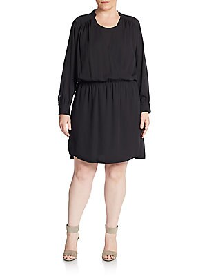 Wrap-Front Blouson Dress