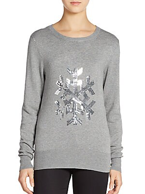 Graphic Sequined Snowflake Sweater