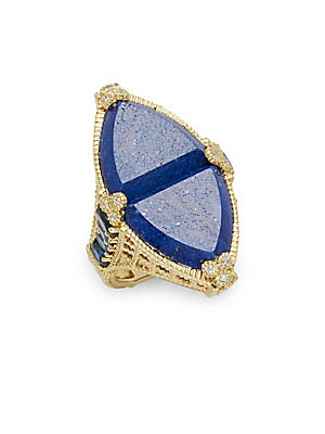 Click here for Diamond  Lapis & 18K Yellow Gold Ring prices