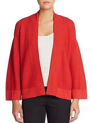 Ribbed Kimono-Sleeve Cardigan