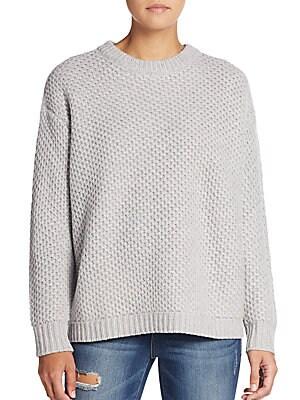 Oversized Diamond-Textured Wool Sweater