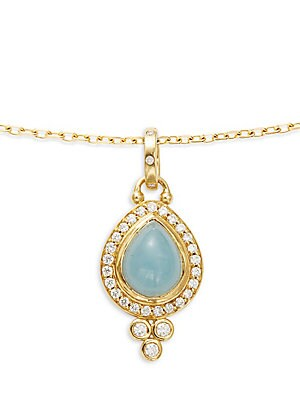 18K Yellow Gold Pave Halo Pear Drop Pendant