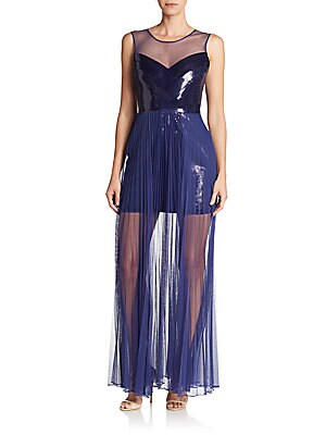 Cinthya Sequined Illusion-Yoke Gown