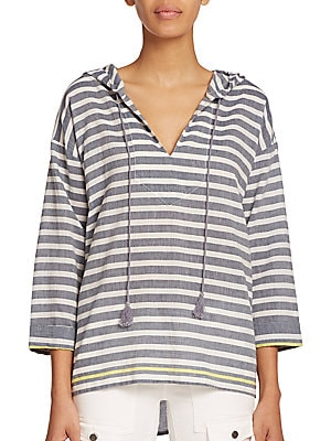 Baja Striped Hooded Pullover