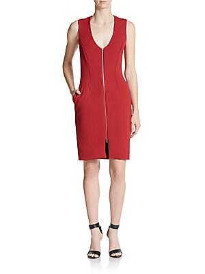 Eva Zip-Front Sheath Dress