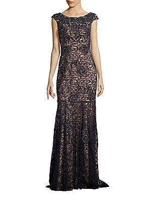 Cap Sleevve Lace Gown