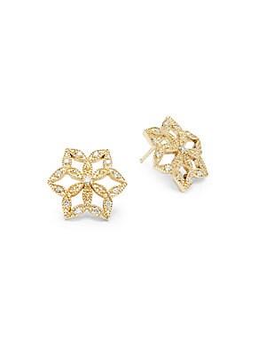 14K Yellow Gold & Diamond Flower Earrings