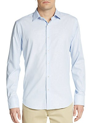 Shaped-Fit Hairline Striped Cotton Sportshirt