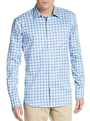 Shaped-Fit Windowpane Check Cotton Sportshirt