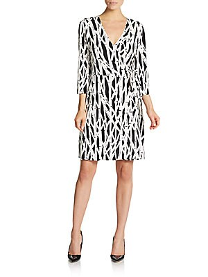 Bamboo Patterned Jersey Wrap Dress