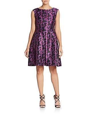 Ribbon-Print Satin Dress