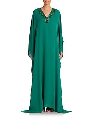 Embellished Silk Caftan