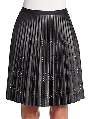 Blair Pleated Perforated A-Line Skirt