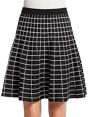 Grid Jacquard Fit-And-Flare Skirt