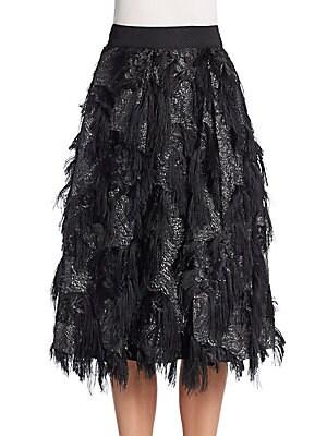 Eyelash Fringe Midi Skirt
