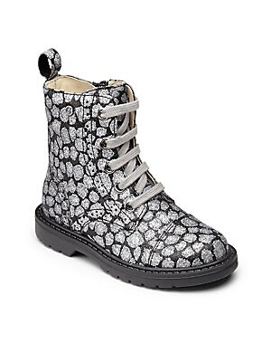 Girl's Metallic Leopard Ankle Boots