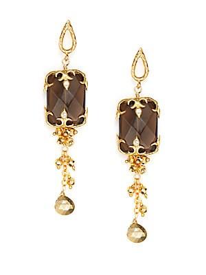 Smoky Topaz Chain Drop Earrings/Goldtone