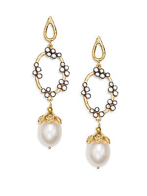Azaara 10MM-12MM Freshwater Pearl Drop Earrings