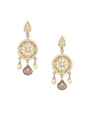 Azaara Citrine & Smoky Topaz Chandelier Earrings