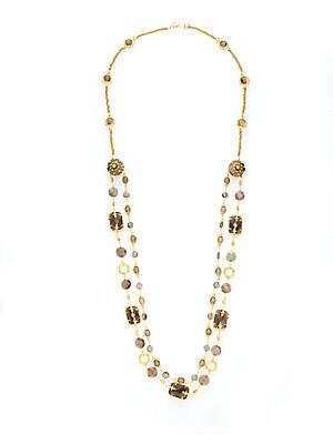 Azaara Light Colorado Topaz Swarovski Crystal, Smoky Quartz & Smoky Topaz Double Layered Station Necklace