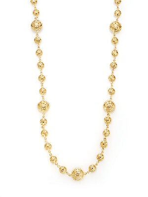 22K Yellow Gold-Plated Filigree Station Necklace