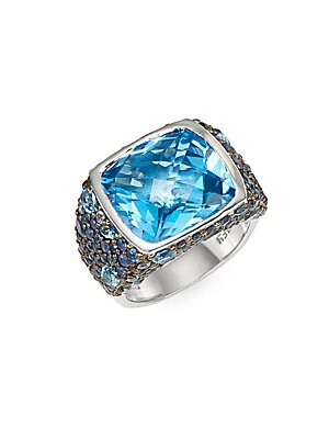 Blue Topaz, Sapphire & Sterling Silver Ring