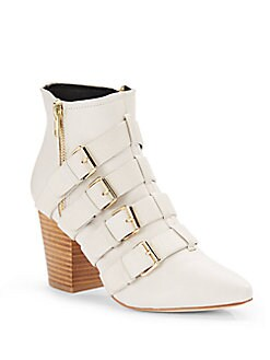 Audrey Leather Buckled Block-Heel Ankle Boots