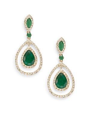 Diamond, Emerald & 14K Yellow Gold Drop Earrings