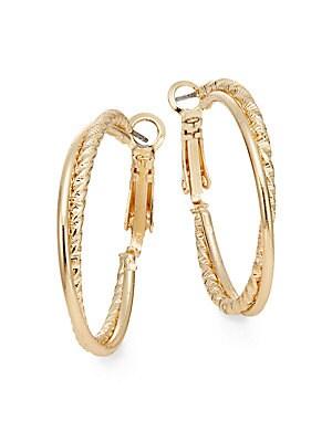 Crisscross Hoop Earrings/Goldtone