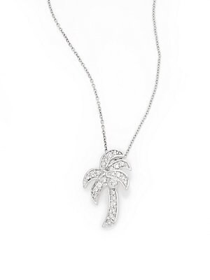 0.28 TCW Diamond & 14K White Gold Palm Tree Pendant Necklace