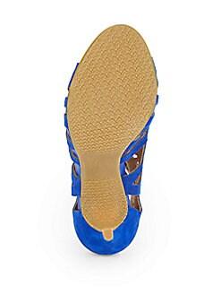 Paxton Suede Laser-Cut Sandals