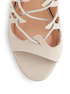 Quinn Suede Lace-Up Open-Toe Sandals