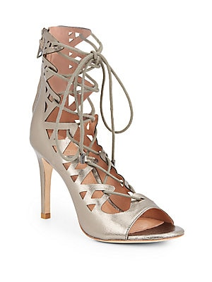 Quinn Metallic Leather Lace-Up Sandals