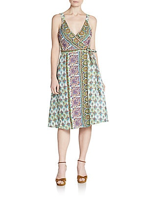 Ivara Printed Linen Wrap Dress