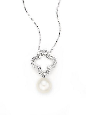 Click here for 9MM White Round Freshwater Pearl  Diamond & 14K Wh... prices